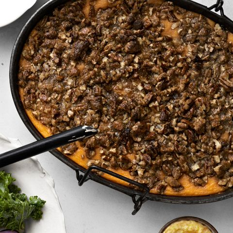 roasted sweet potato casserole with praline streusel
