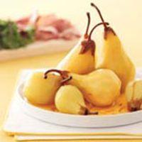 saffron poached pears with prosciutto and arugula