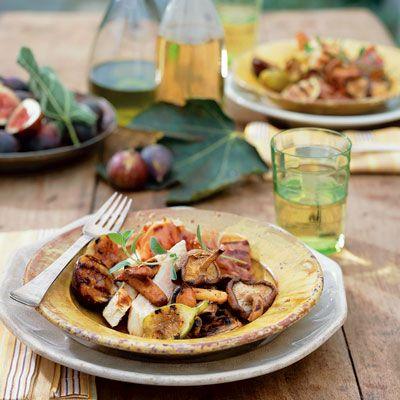 grilled chicken mushroom and fig salad