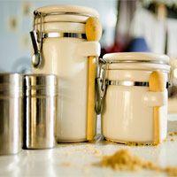 oatmeal cookies in white tin jars
