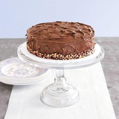 chocolate cake on a pedestal