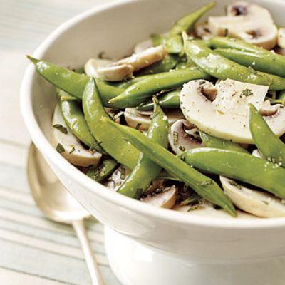 Snap Pea and Marinated Mushroom Salad