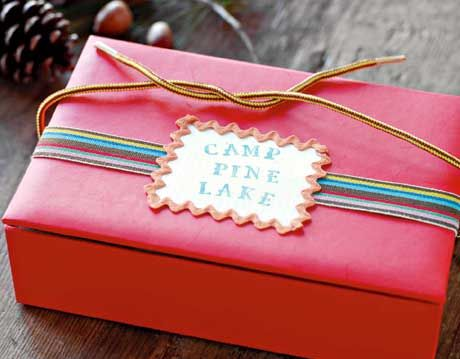 red box with ribbon and label
