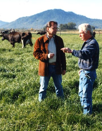 two men talking in a cow pasture