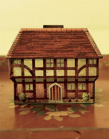 biscuit tin shaped like a house