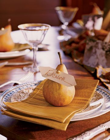 pear on a napkin with name