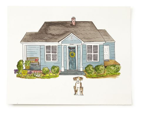 Green, House, Home, Roof, Real estate, Cottage, Paint, Artwork, Door, Rectangle,
