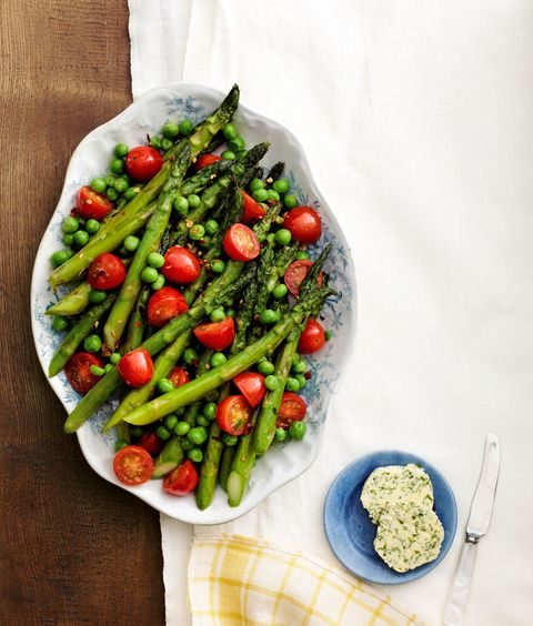 asparagus peas and tomatoes with herb butter
