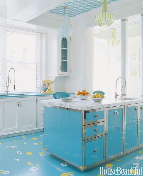 bright blue floor