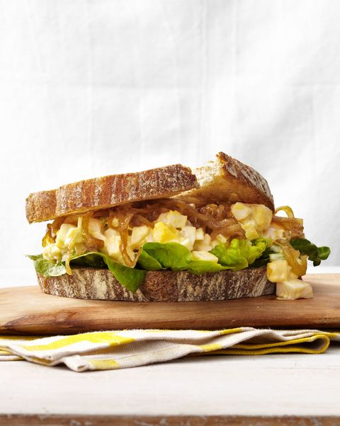 egg salad and caramelized onion sandwiches