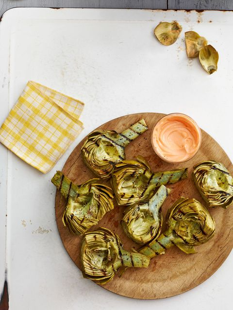 grilled artichokes with harissa honey dip