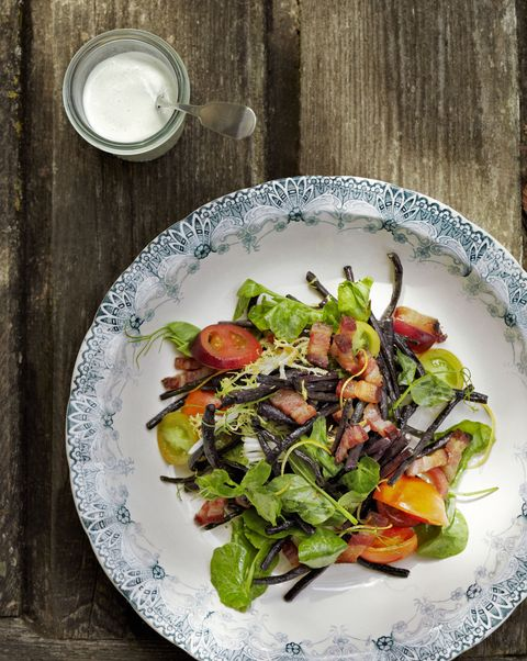 blistered bean salad with buttermilk dressing