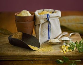 bags of grain and ingredients to make polenta