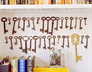 skeleton keys on a wall