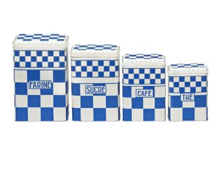 blue and white checkered metal kitchen canisters