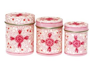 pink floral metal kitchen canisters