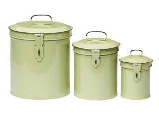 Superieur Light Green Metal Kitchen Canisters