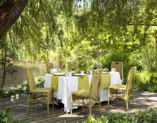 table set by lake