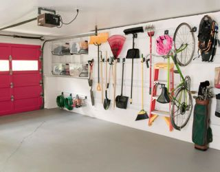 items to hang on garage wall for storage and pink garage door