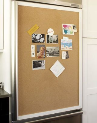corkboard on refrigerator