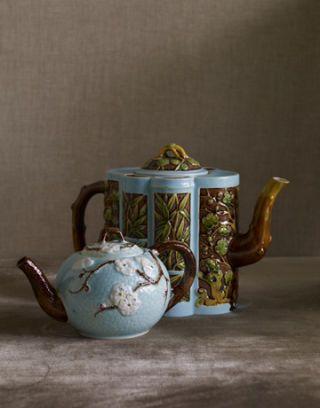 blue floral tea set