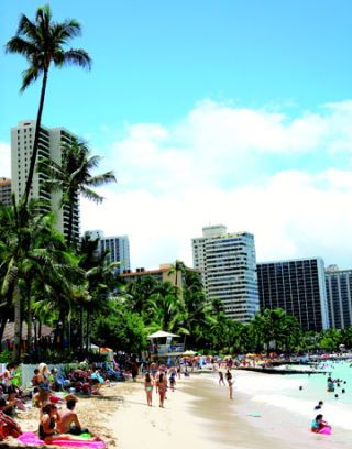 oceanfront view of outrigger hotel on waikiki beach