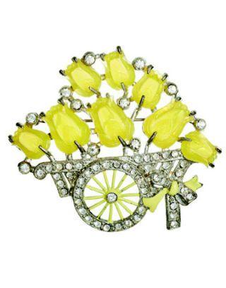a yellow stone tulip pin
