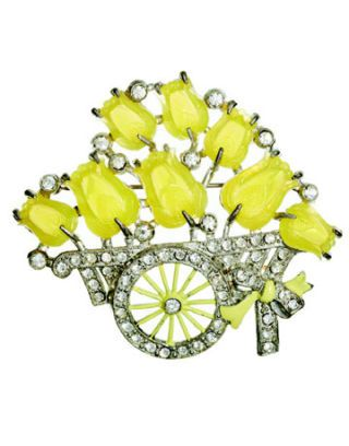 a yellow stone tulip pin