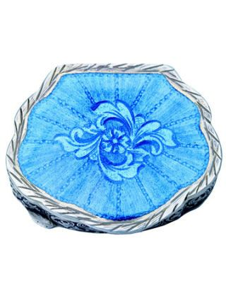 enameled blue pillbox with flower design