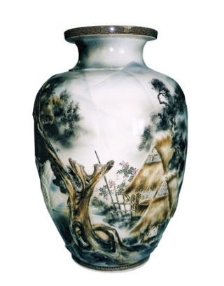 white vase with painted rural hut scene