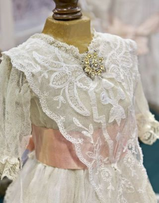 lace doll dress on dress form