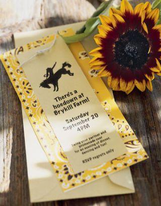 invitation made using bandana paper