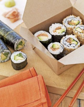 pieces of sushi in a box