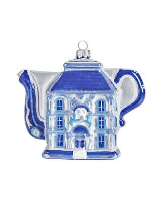 blue house teapot ornament
