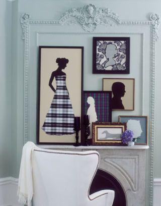 framed pictures on mantle