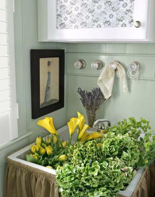 laundry room sink full of flowers