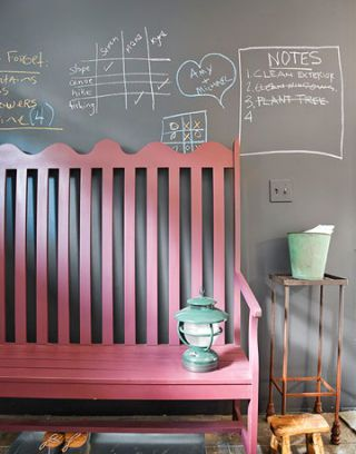 bench with blackboard wall