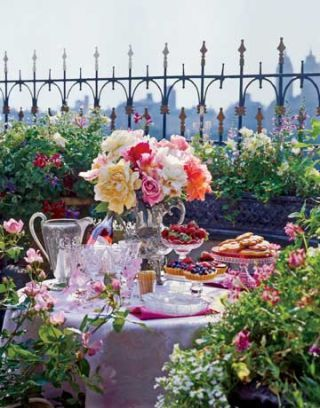 elegant table setting on a balcony