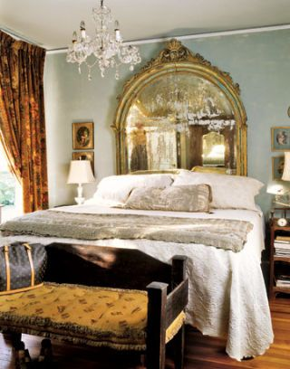 bedroom with mirror headboard