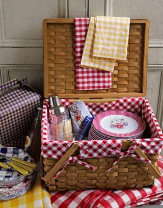 gingham picnic basket