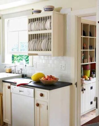 kitchen with plate rack