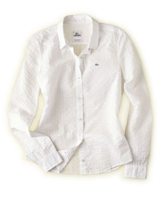 white textured button down