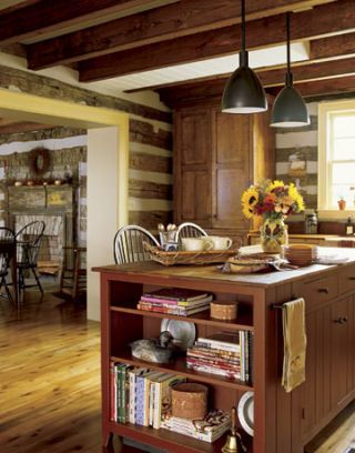 country kitchen with lights over island