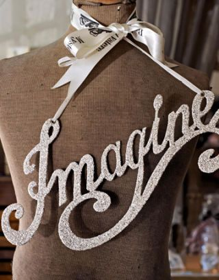 """imagine"" wall hanging"