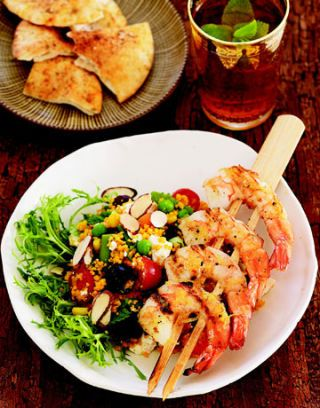 couscous salad with grilled shrimp