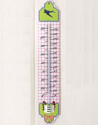 pink and white gingham outdoor thermometer