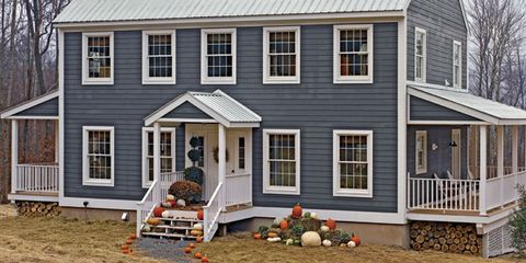 blue farmhouse