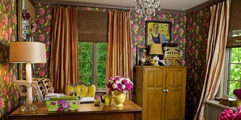 home office with brown floral wallpaper