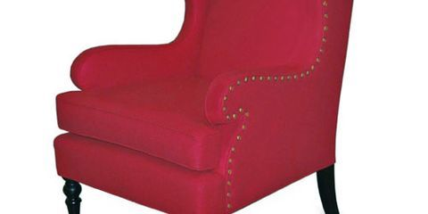 Red Upholstered Wing Chair
