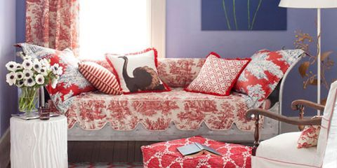 Interior design, Room, Window, Branch, Home, Furniture, Textile, Red, Living room, Wall,
